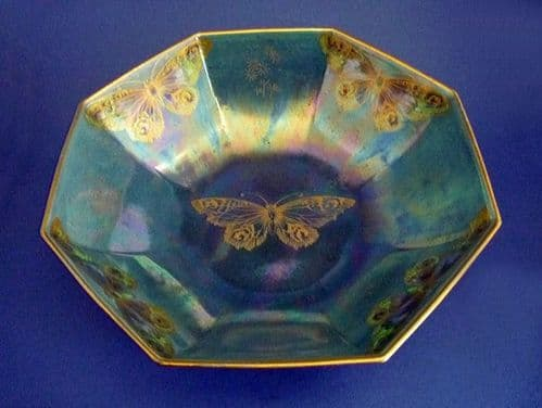 Large Shelley Blue Lustre Ware 'Rich Butterfly' Bowl by Walter Slater c1920