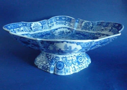 Large Spode Pearlware 'Net' Pattern Footed Dish or Comport c1820
