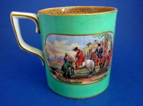 Large Turquoise Green Prattware Mug 'The Torrent' and 'The Travellers' Departure'  c1860