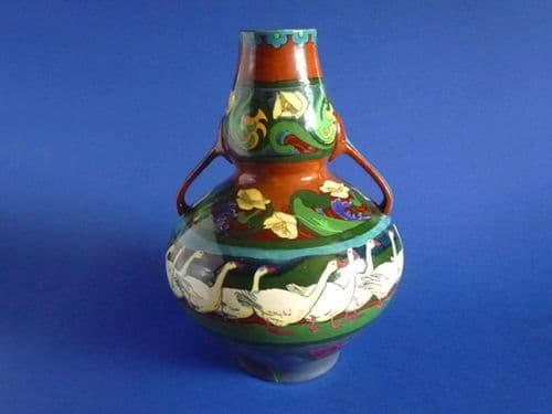 Large Wileman Intarsio 'Geese' Two Handled Vase by Frederick Rhead c1899