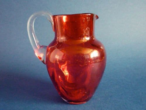 Lovely Antique Victorian 'Drapery' Moulded Cranberry Glass Jug c1880