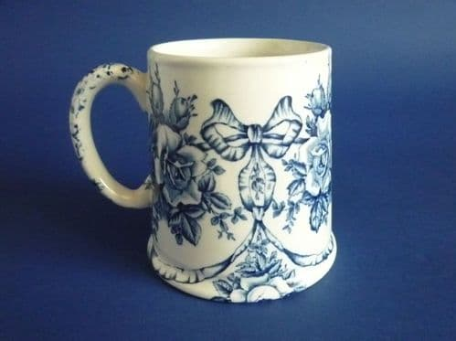 Lovely James Kent 'Garland' Blue and White Transfer Ware Tankard c1910
