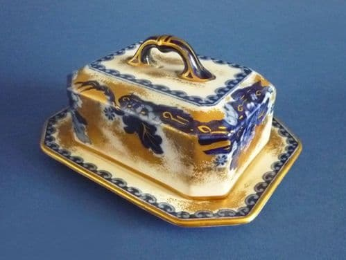 Lovely Keeling and Co 'Chusan' Losol Ware Covered Butter Dish c1910