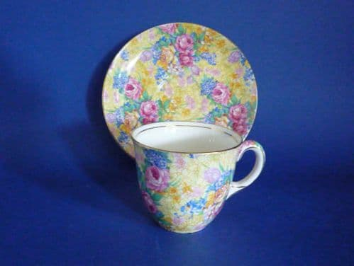 Lovely Old Grimwades Royal Winton 'Welbeck' Chintz Coffee Cup and Saucer c1935 #1