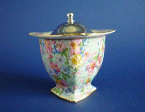 Lovely Royal Winton 'Marion' Chintz Preserve Pot with Chrome Lid c1951