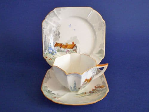 Lovely Shelley 'Cottage 2' Pattern 11621 Queen Anne Trio c1928 #2