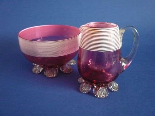Lovely Stevens and Williams Threaded Cranberry Glass Jug and Bowl c1890