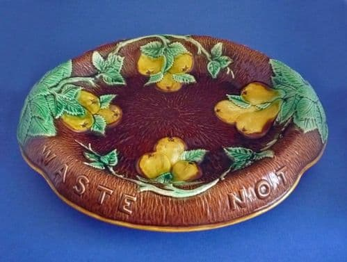 Majolica 'Apples and Pears' Waste Not Want Not Bread Platter c1870