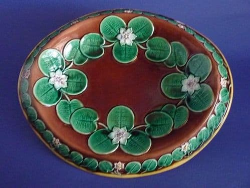 Majolica 'Water Lily' Oval Bread Platter c1880