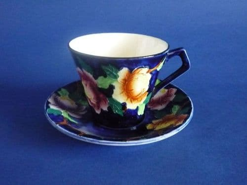 Maling Embossed Blue 'Peona' Art Deco Coffee Cup and Saucer c1936 #1