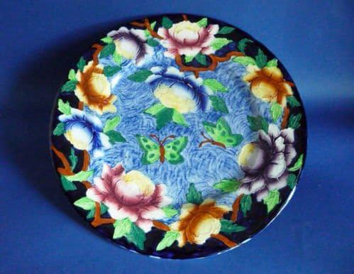 Maling Embossed Blue 'Peona' Wall Plaque c1939