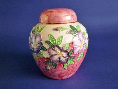 Maling 'Godetia' Pink Lustre Ginger Jar and Cover c1950