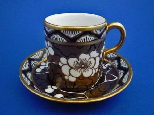 Maling 'Prunus' Pattern 3576 Coffee Can and Saucer c1929 #1