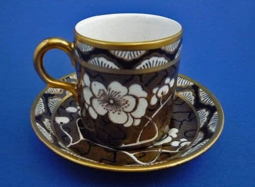 Maling 'Prunus' Pattern 3576 Coffee Can and Saucer c1929 #2
