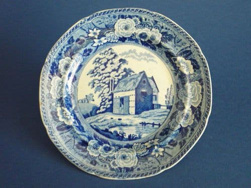 Minton Monk's Rock Series 'Thatched Barn' Muffin or Side Plate c1820