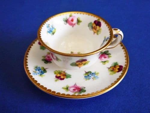 Minton 'Rose, Pansy and Forget-me-not' Miniature Cup and Saucer c1900