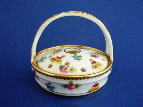 Minton 'Rose, Pansy and Forget-me-not' Miniature Flower Basket c1900