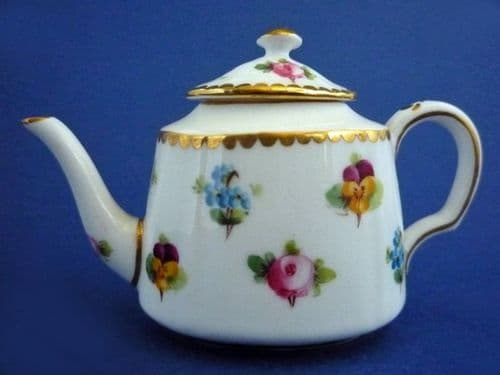 Minton 'Rose, Pansy and Forget-me-not' Miniature Teapot c1900
