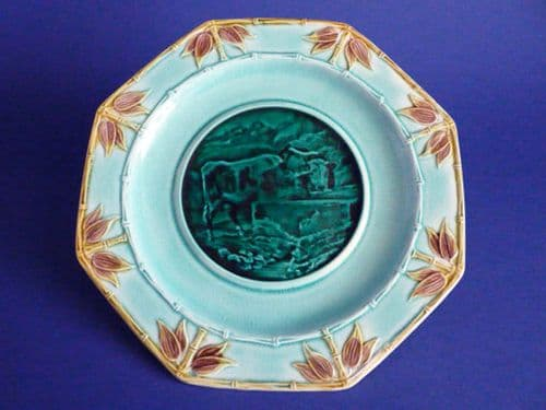 Octagonal Majolica 'Email Ombrant' Bamboo and Cattle Plate c1870