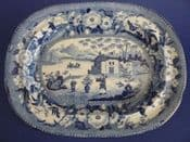 Pair of Pearlware 'Chinese Flowering Pot' Small Serving Platters c1820