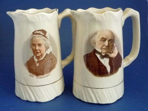 Pair of Staffordshire Political Jugs - William and Catherine Gladstone c1900