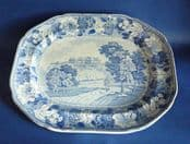 Passion Flower Border Series 'Hare Hall (Harewood House), Yorkshire' Meat Platter c1830