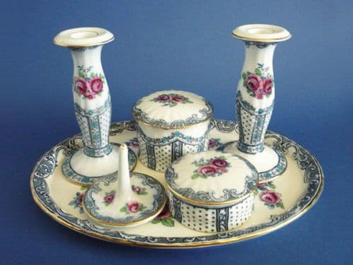 Pretty Keeling and Co 'Hartwell' Losol Ware Dressing Table Set c1910