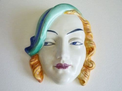 Rare Beswick 'Lady with Green Hat' Small Wall Mask Model No.277 c1935