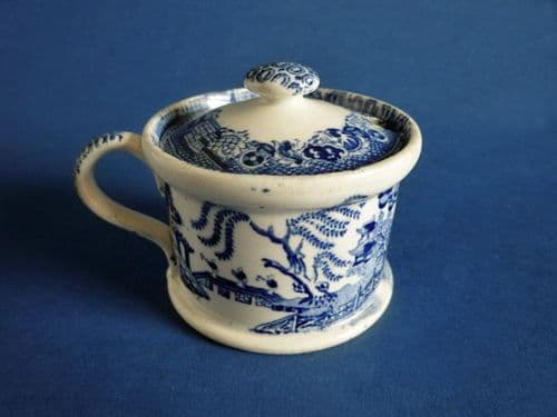 Rare Blue and White Willow Pattern Mustard Pot c1830