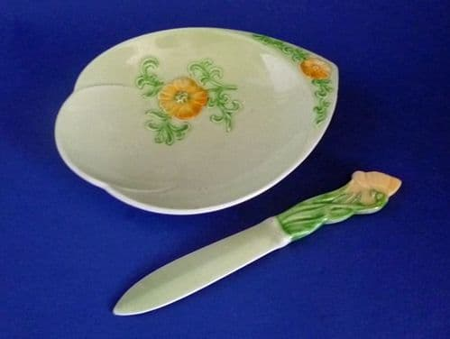 Rare Carlton Ware Green 'New Buttercup' Butter Dish and Knife c1948