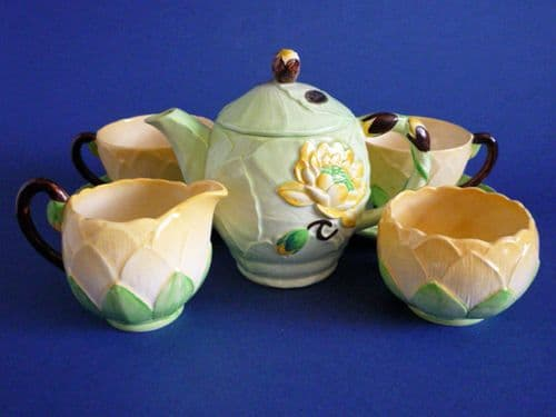 Rare Carlton Ware Green Water Lily Tea for Two c1939