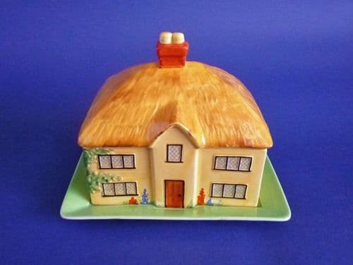 Rare Carlton Ware Thatched Cottage Butter Dish c1930