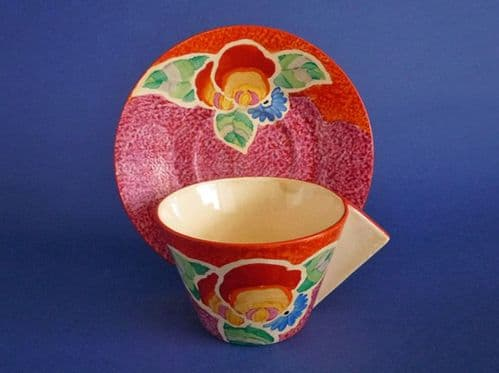 Rare Clarice Cliff Bizarre 'Nuage Rose' Conical Cup and Saucer c1932