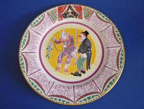 Rare Clarice Cliff Bizarre 'Two Clowns Fishing' Circus Plate designed by Laura Knight c1935