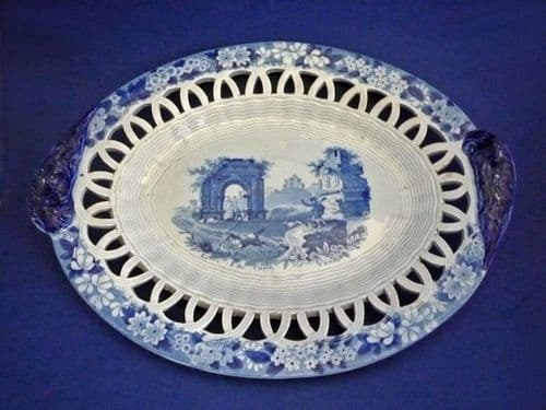 Rare Don Pottery Named Italian Views 'Ruins of the Castle of Canna' Basket Stand c1820