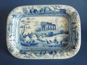 Rare Early Spode 'Citadel near Corinth' Caramanian Series Rectangular Dish c1820