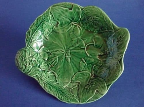 Rare Green Majolica 'Butterfly and Leaf' Serving Dish c1870