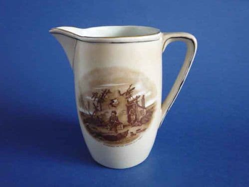 Rare Grimwade's WW1 Bruce Bairnsfather Ware Old Bill - 'At Present We Are Staying at a Farm' Jug c1918