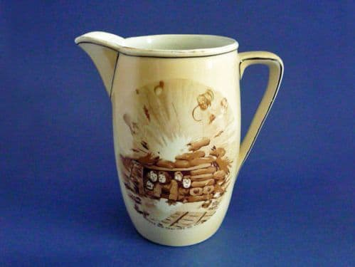 Rare Grimwade's WW1 Bruce Bairnsfather Ware Old Bill - 'Where Did That One Go To?' Large Jug c1918
