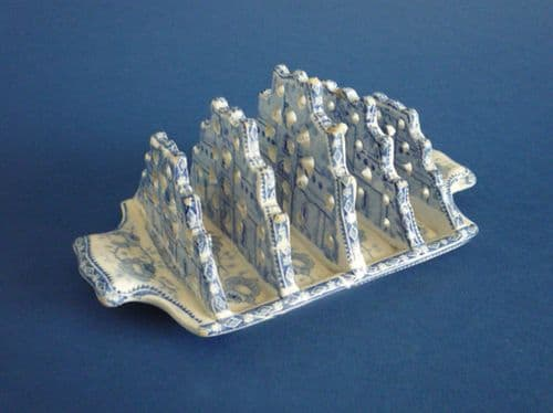 Rare Hackwood 'Castle' Blue and White Gothic Revival Toast Rack c1820