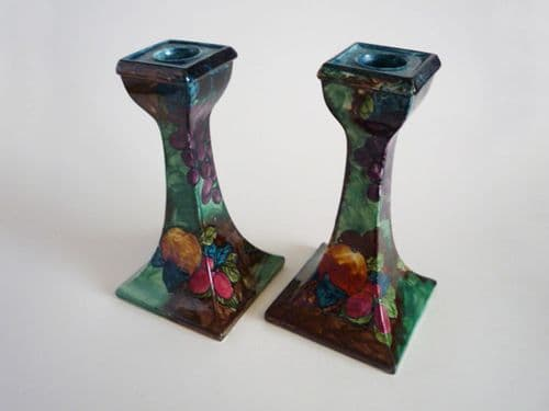 Rare Hancock and Sons 'Titian Ware' Candlesticks by F. X. Abraham c1925