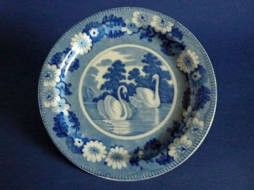 Rare James and Ralph Clews 'Swans' Pattern Side Plate c1820