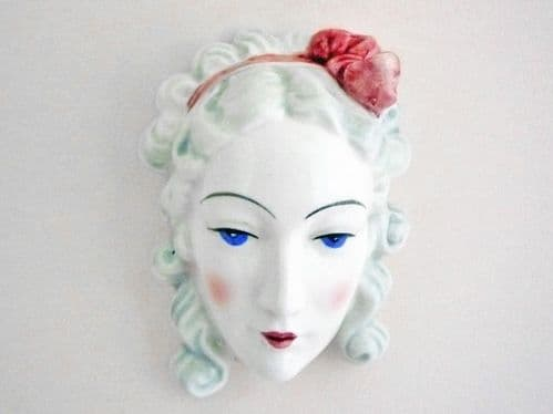 Rare Japanese Art Deco 'Lady with Pink Ribbon' Wall Mask c1935