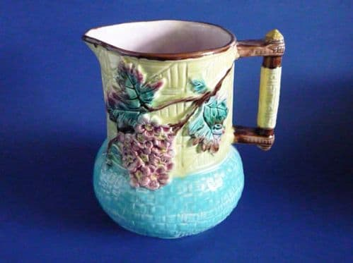 Rare Large Victorian Aesthetic Movement Turquoise 'Apple Blossom' Majolica Pitcher c1880