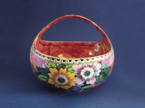 Rare Maling Rose Pink Lustre 'Honeycomb and Daisy' Round Fruit Basket c1938