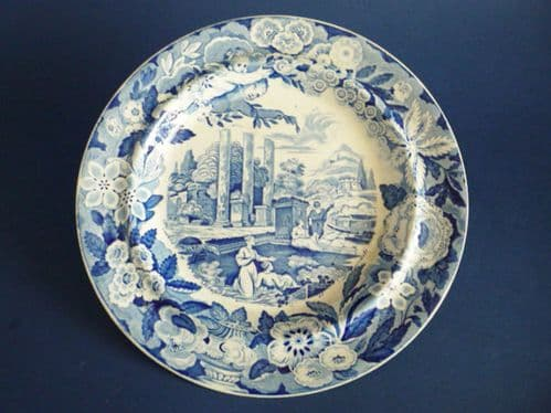 Rare Marked Don Pottery 'Named Italian Views - Temple of Serapis' Pearlware Dinner Plate c1820