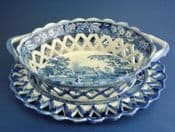 Rare Minton 'Benevolent Cottagers' Oval Pierced Basket and Stand c1820