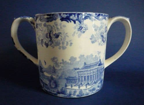 Rare Minton 'Chinese Marine' Opaque China Loving Cup c1830