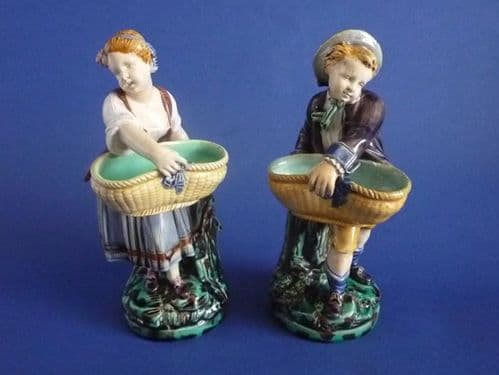 Rare Minton Majolica 'Boy and Girl with Baskets' Figural Salts c1868