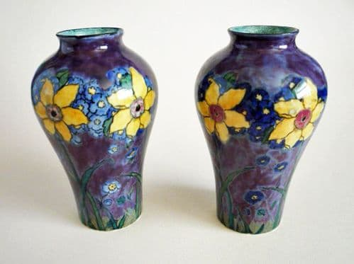 Rare Pair of Hancock's Corona Ware 'Spring Time' Vases by F. X. Abraham c1930